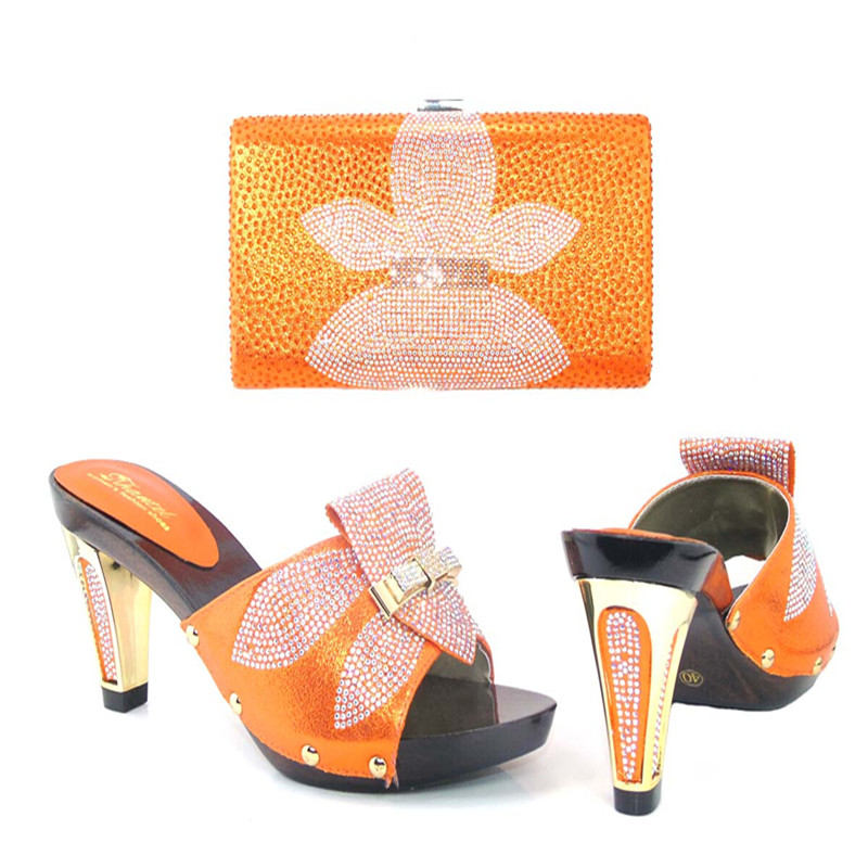 ФОТО New Arrival Rhinestone Woman Shoes And Bag Set For Wedding Fashion Ladies High Heels Shoes And Evening Bag Set 7Colors TYS17-30
