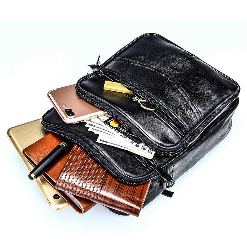 Genuine Leather Male's Crossbody Bag Casual Business Leather Men's Messenger Bag Vintage Men Big Bag Zipper Shoulder Handbags