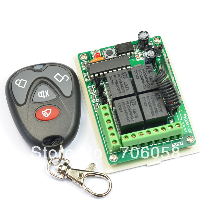 DC 12V 10A 4CH Remote Control Switch Receiver And Transmitter CONTROL SWITCH Remote Switch Learning Code dc 12v led display digital delay timer control switch module plc automation new