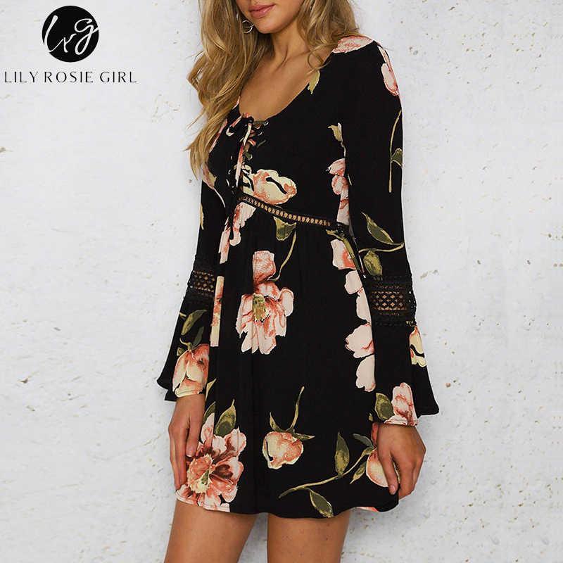 Conmoto Летнее платье с вырезом, платье со шнуровкой, короткое платье в стиле бохо с принтом, короткое повседневное платье с длинными рукавами, лето 2019