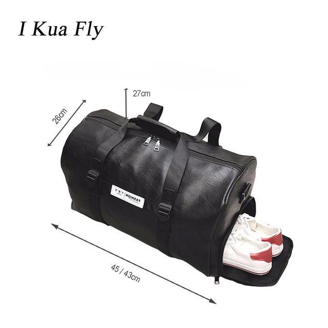2019 Leather Gym Bag Sport Bag Men Waterproof PU Fitness Compartment Women Shoulder Bags Travel Training Large Sport Handbag 4