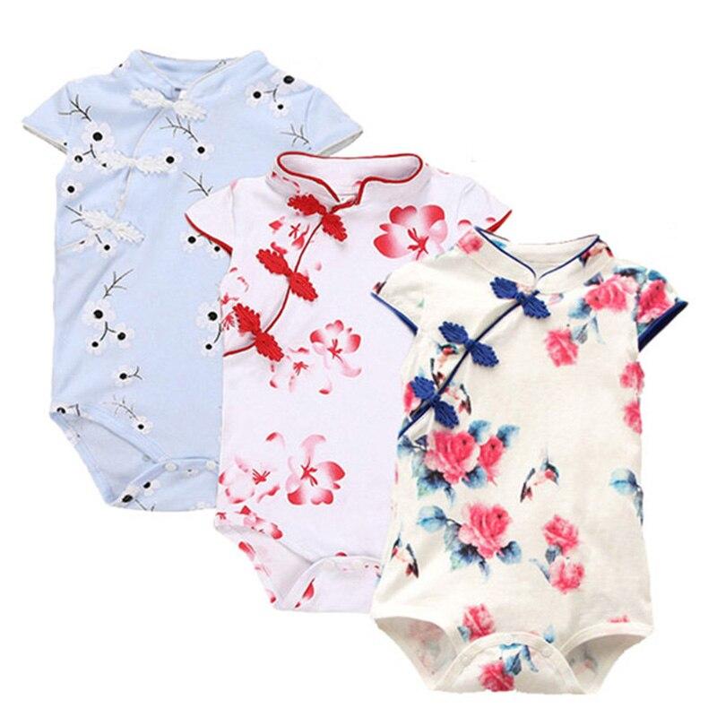 Bodys & Einteiler Sommer Baby Strampler Baumwolle Baby Kleidung Chinesischen Cheongsam Baby Mädchen Kleidung Drucken Ärmel Infant Overalls Für Party Kleidung Schrumpffrei