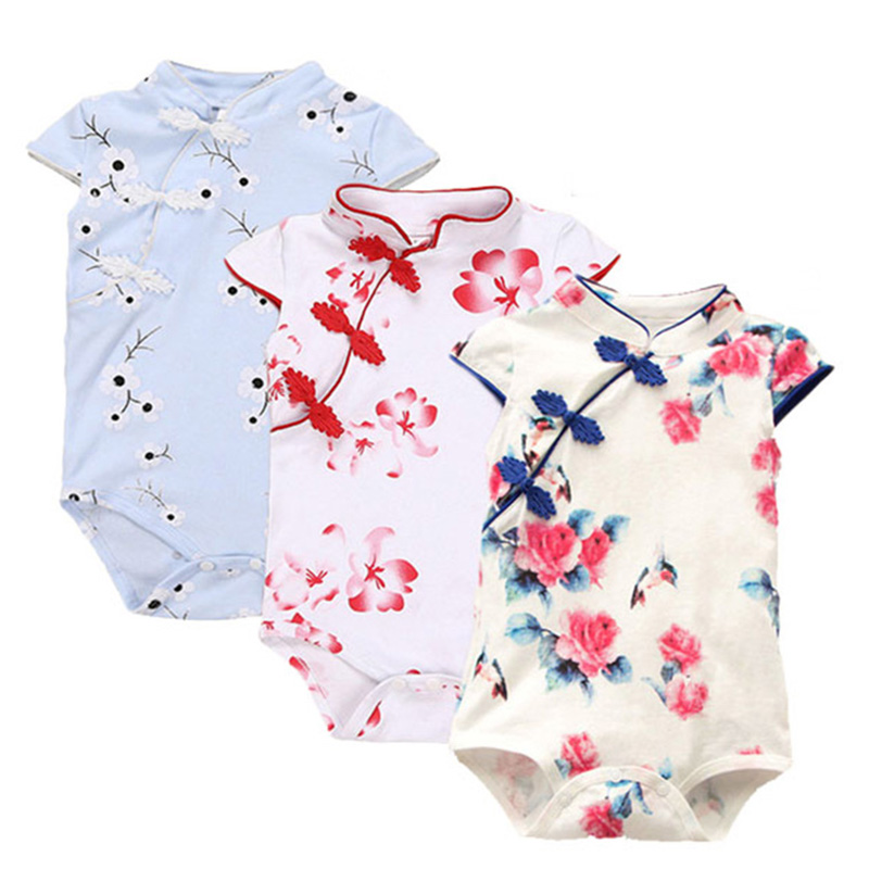 Summer Baby   Rompers   Cotton Baby Clothes Chinese Cheongsam Baby Girl Clothes Print Sleeveless Infant Jumpsuits for Party Clothes