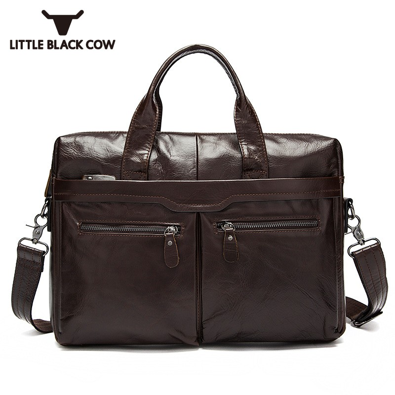 Brand Luxury Tote Bag For Men High Quality Cow Leather Shoulder Bags Business Casual Crossbody Bags Pocket Zipper Male Handbags