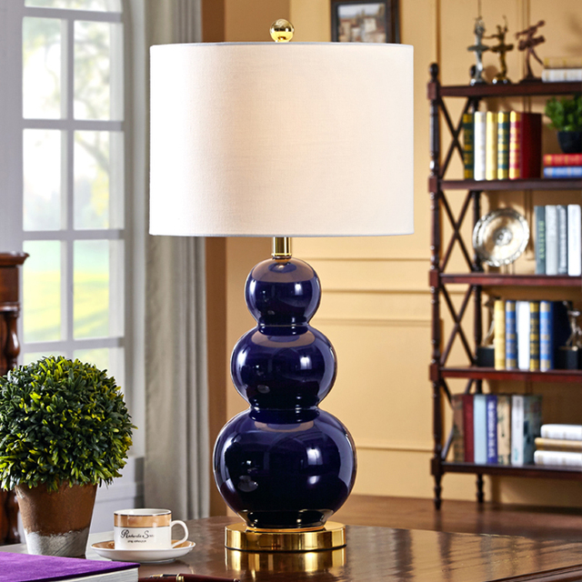 American Style Deep Blue Gourd Ceramic Table Lamps Home Bedroom