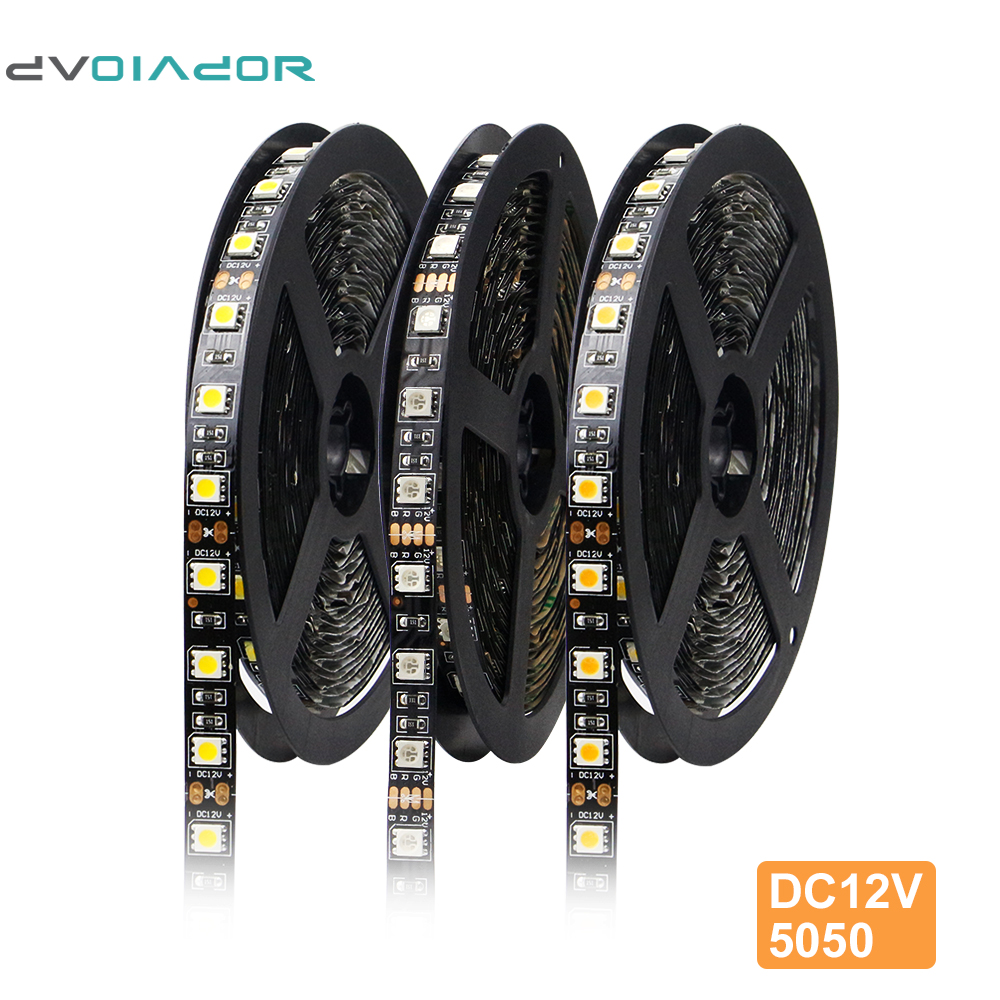 Black 5M Dimmable 5050 Rgb Led Strip, [ DVOLADOR] DC12V 60LEDs/m LED Light Strip SMD5050 Ribbon Decoration LED Rgb Strip 5m/lot