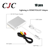 10 pcs For Lightning to HDMI HDTV VGA AV Digital Cable Adapter For iPhone X 8 7 7s 6 6s plus For iPad For Monitor Projector