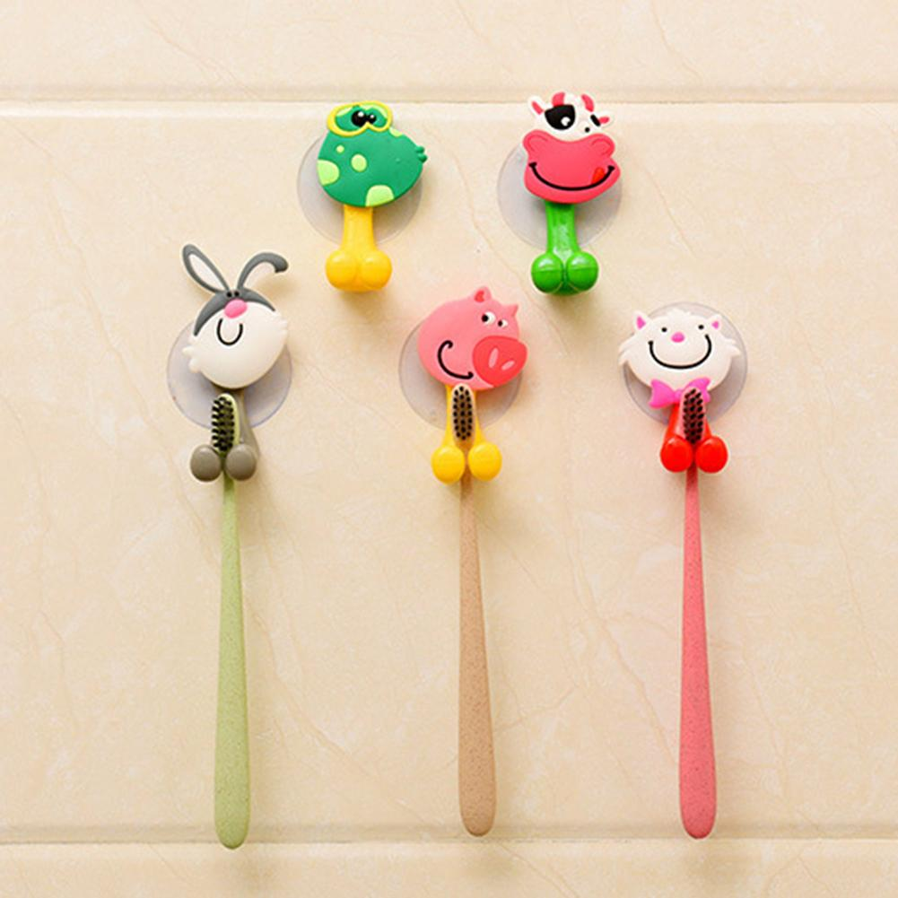 1pc Baby Care Toothbrush Holder Cute Cartoon Animal Shape Holder Sucker Suction Hooks Set Hanging Baby Toothbrush Holders image