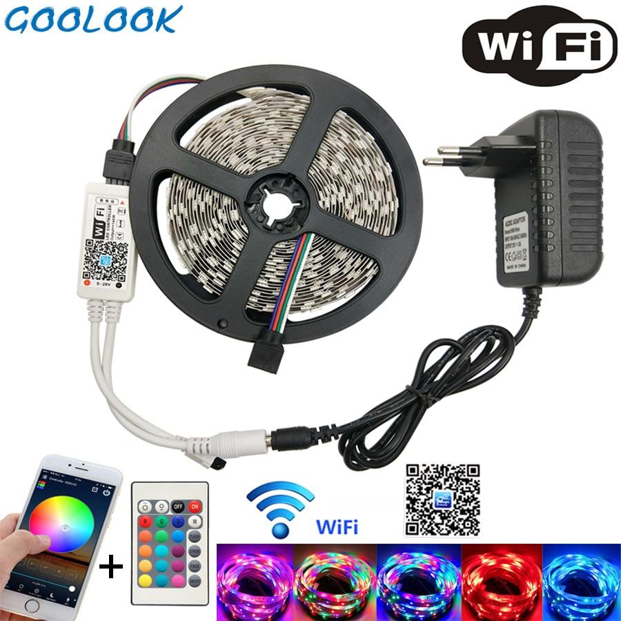 LED Streifen Licht SMD 2835 RGB LED Band 5 mt 10 mt LED Flexible Streifen RGB licht band 3528 led streifen Diode DC12V + Controller Full Set