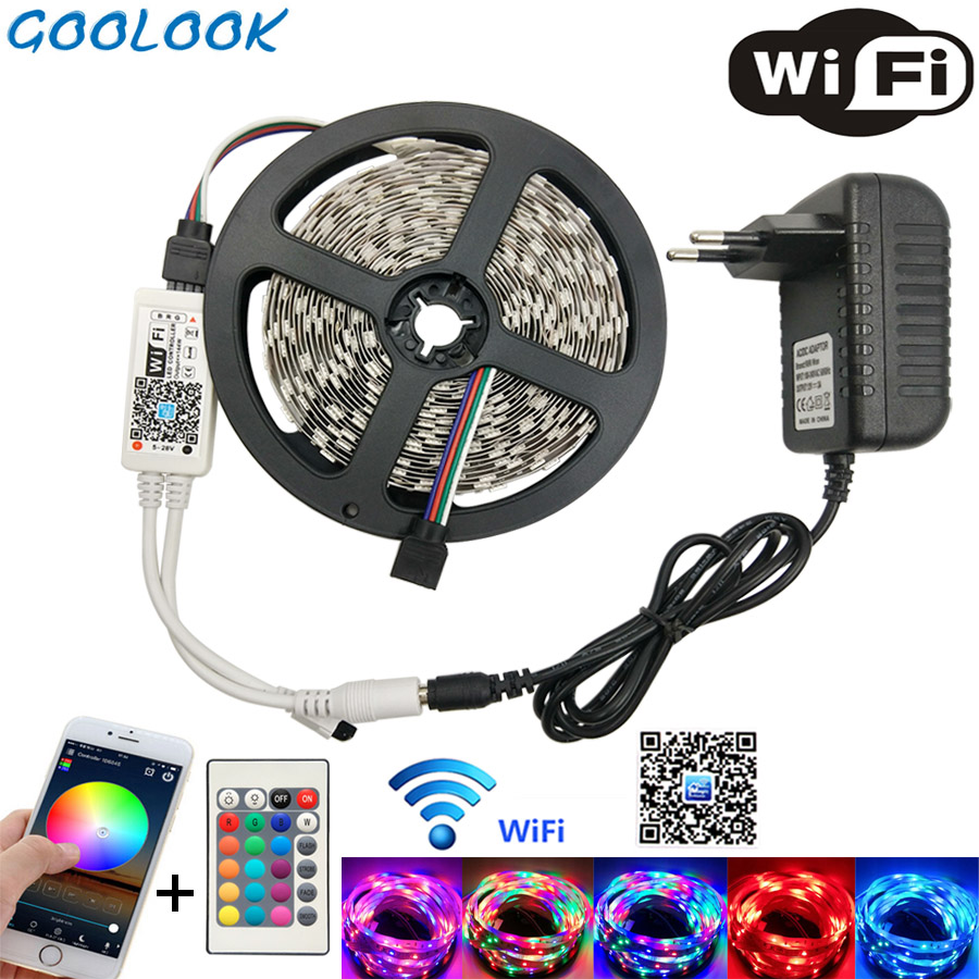 Tira de luz LED SMD 2835 RGB cinta LED 5 m 10 m tira Flexible LED RGB cinta de luz 3528 tira led diodo DC12V + controlador conjunto completo