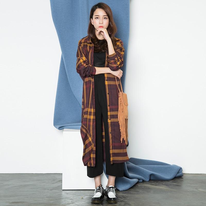 52401093395d Spring autumn loose casual oversize BF plaid maxi shirt dress ankle length shirt  maxi cardigan jacket FF148
