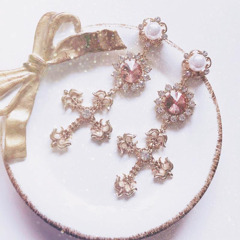 EARS HIGH Korean Fashion Women Cross Drop Earrings Barque Style Shiny Rhinestone Crystal Simulated Pearl Girl Vintage Jewelry(China)