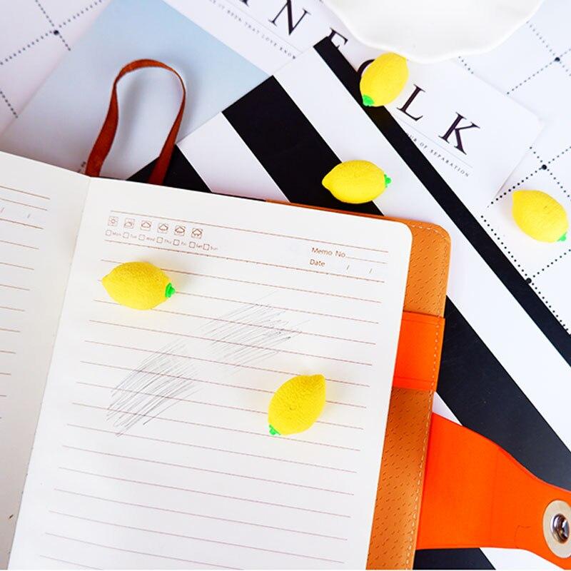 2pcs/lot Cartoon Lemon Rubber Eraser Art School Supplies Office Stationery Novelty Pencil Correction Supplies