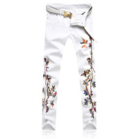 Newsosoo Men Embroidery Bird Flower Jeans Pencil Pants Slim Casual Denim Trousers Fashion Style Embroidered Jeans Joggers White