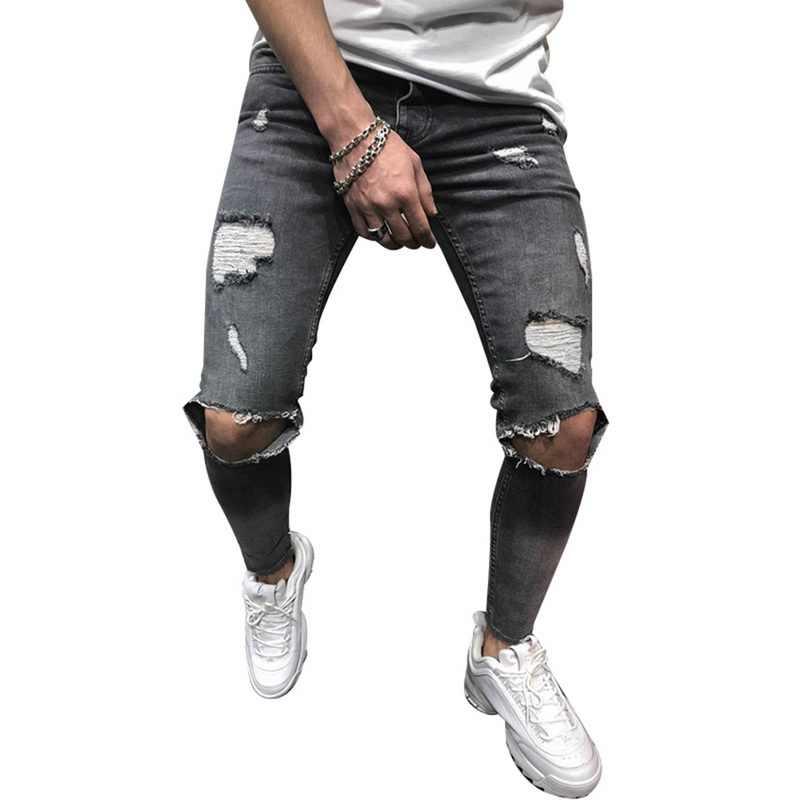 d804c1eca6 NIBESSER 2019 de moda Vaqueros Hombre Slim Fit Hola Street hombre rodilla  agujeros apenado Denim Joggers