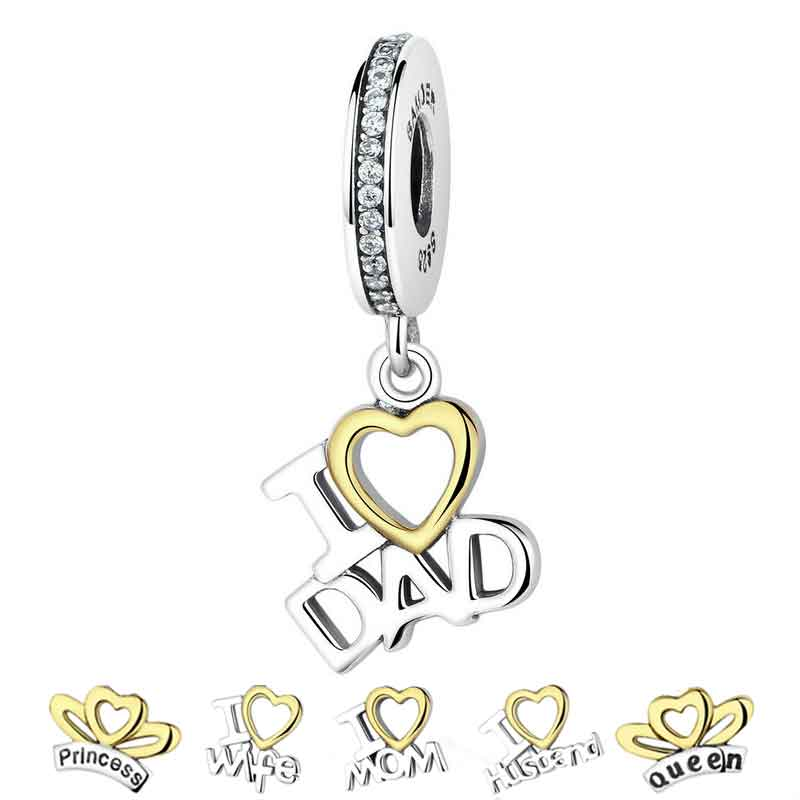 925 Sterling Silver Charms Gold Love Dad & Father Charms Pendant fit PAN Charm Bracelets DIY Jewelry Making Men Gift GXC052