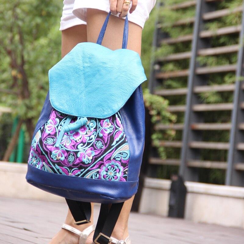 특별 제공 가방 보헤미안 수 놓은 정품 가죽 여성 배낭 패션 수제 여행 배낭-에서백팩부터 수화물 & 가방 의  그룹 2