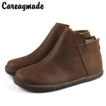 Careaymade-Womens Department of antique short boots, layers leather spring&autumn handmade real boots