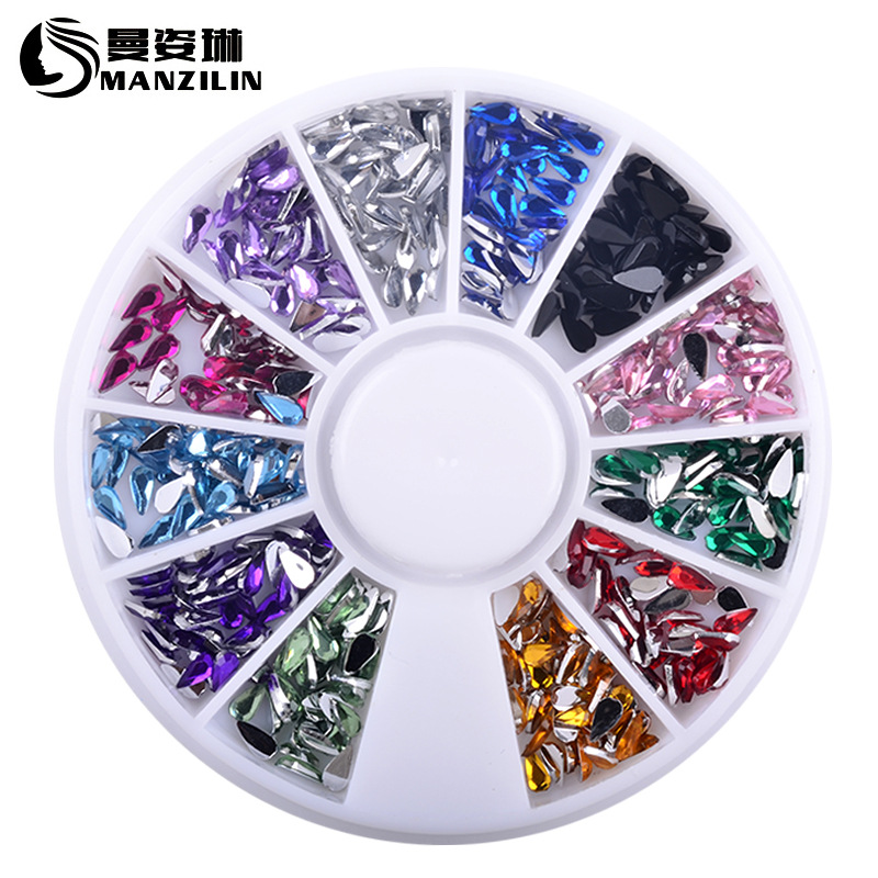 white nail art acrylic tips display round wheel Colorful 2MM 3MM Drop Acrylic Wheel Nail Stickers Decoration 3D DIY Nail Art Tips Jewelry Rhinestones Manicure tools