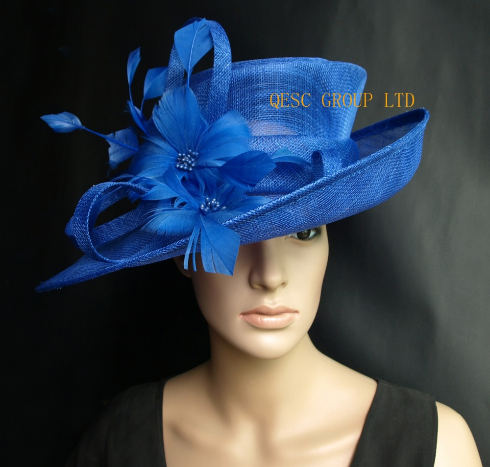 9b32a1e8901 Cobalt Royal blue Sinamay Hat formal dress hat with feathers flower for kentucky  derby.wedding church.party-in Fedoras from Apparel Accessories on ...