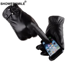 SHOWERSMILE Leather Male Glove For Mobile Phone Black Brown Mens Winter Gloves Driving Velvet Mens Gloves Warm Touch Screen(China)