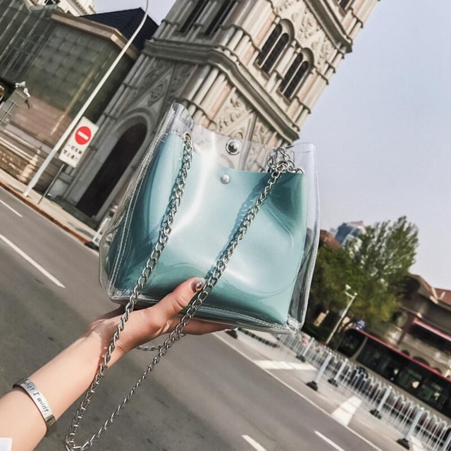 Women Small Bucket Bags Plastic Transparent Totes Composite Chain Bag Female Mini Jelly Handbags 6H0105