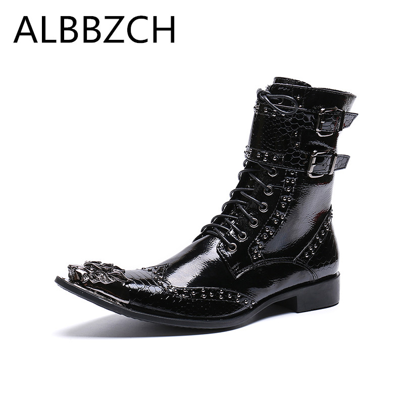 Luxury patent leather men boots metal dragon pointed toes mens ankle boots fashion buckle rivets western cowboy wedding shoes 46