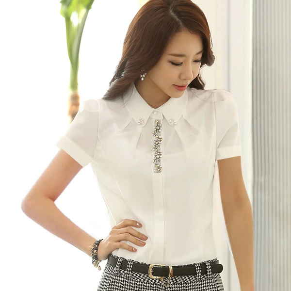 Elegant Chiffon Blouse Women Spring Beading Slim White Shirt Women Tops Long Sleeve  S-XXL blusas femininas T6130