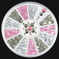 1 Wheel 3D Mix Size Round Nail Art Decoration Glitter Rhinestone Studs Crystal Nail Decoration Nail DIY Tool Accessory ZP151