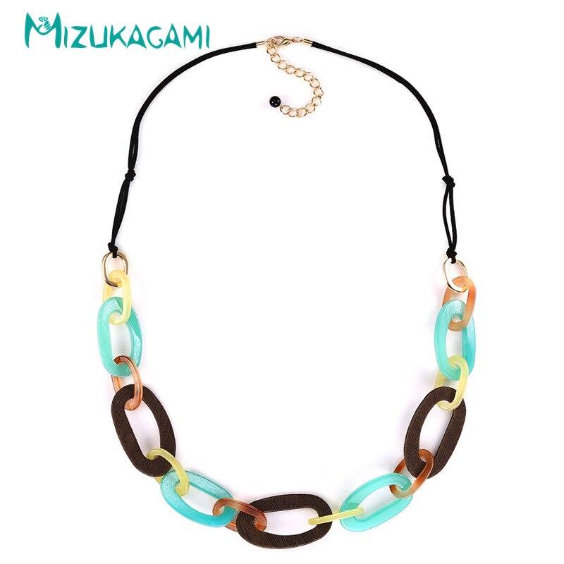 MIZUKAGAML 2018 New Fashion Exquisite Geometric Acrylic Round Hollowe Leather Necklace Material For Women Elegant Design Jewelry
