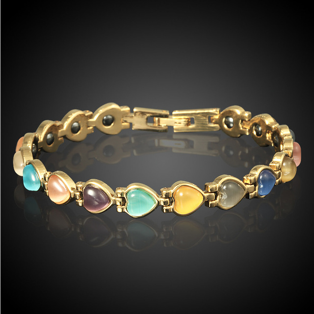 18K Gold Plated Heart Magnetic Therapy Bracelets Cat's Eye Stone Chain Bracelet for Women Girls sWL24r