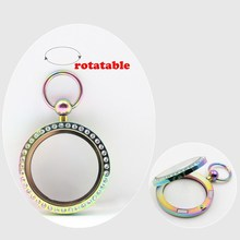 New Arrival! pocket watch design! 30mm magnetic closure rainbow 316L stainless steel floating locket with czech crystals