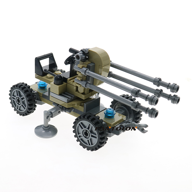 WW2 High Ground Aircraft Gun Building Blocks Military Figures With Weapons Model Diy Bricks Education Toys For Children