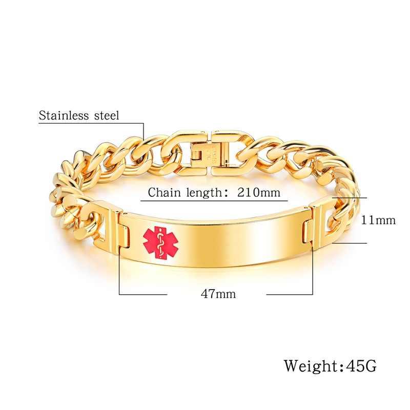 AZIZ BEKKAOUI Engrave Name Medical Alert Bracelets Medical Identification ID Stainless Steel Bracelets Bangles Customize Jewelry
