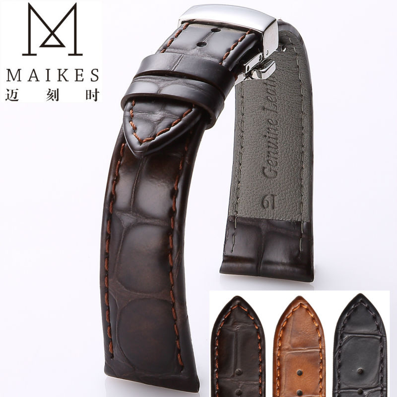 MAIKES Genuine Leather Watchband 22mm 20mm For Fashion casual Calf Leather Watches Strap Butterfly Buckle For Omega in Watchbands from Watches