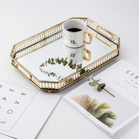 Nordic Glass Storage Tray Iron Gold Plated Mirror Bottom Tray Oval Dotted Fruit Plate Desktop Small Items Jewelry Display Tray