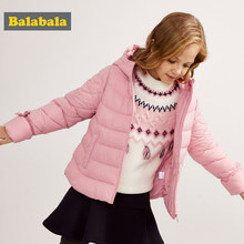 Balabala Girl Quilted Lightweight Hooded Puffer Jacket with Bow Tie at Cuff Teenage Girls Hooded Padded Jacket with Slant Pocket(China)