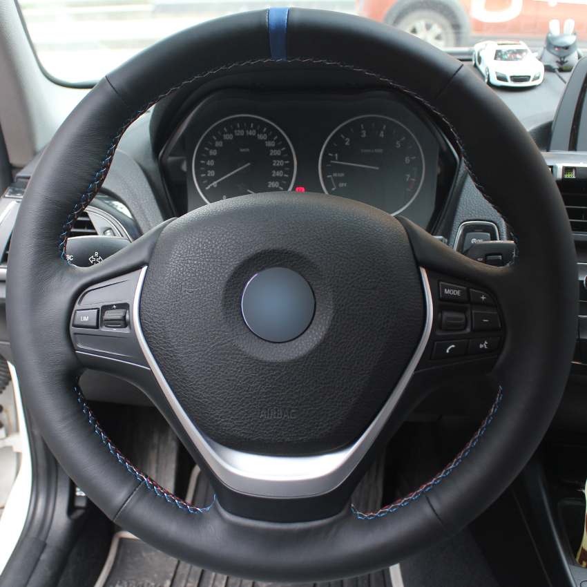 Black Natural Leather Blue Marker Car Steering Wheel Cover