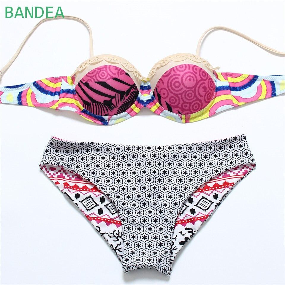 bandea 2016 summer style vintage print bikini maillot de bain for women push up padded women