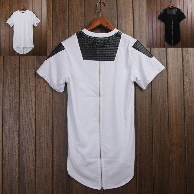 0a75e75234a Men Swag Leather T-shirt Extend Golden Zip Men s Streetwear T Shirt  Oversized Back zipper Hip Hop Tee Extended Punk T-shirt