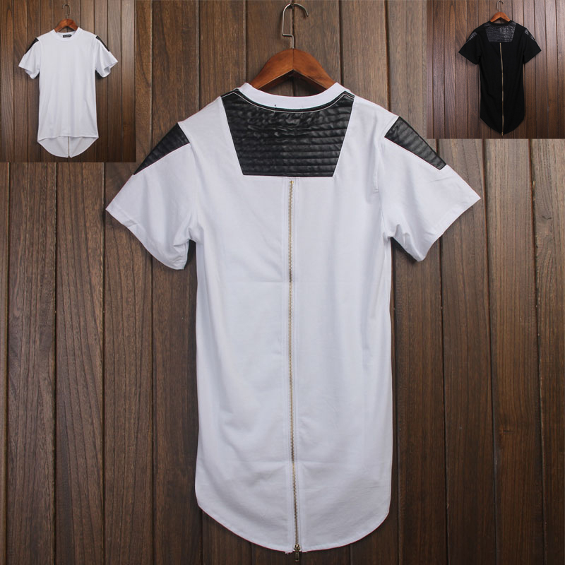 T-shirt en cuir Swag pour hommes avec fermeture éclair dorée T-shirt Streetwear pour hommes avec fermeture à glissière arrière surdimensionnée T-shirt Hip Hop