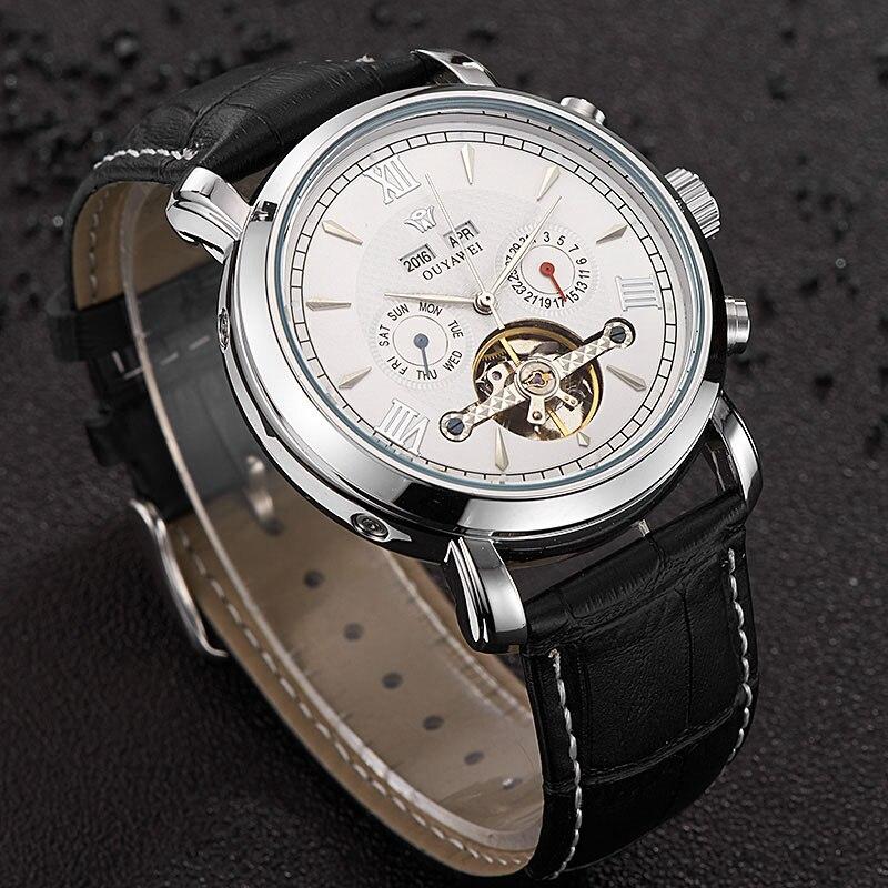 c178818a89c OUYAWEI Homens de Negócios Relógio Mecânico Skeleton Tourbillon Automatic  Clássico Masculino de Couro Relógios de Pulso Relógio Reloj Hombre