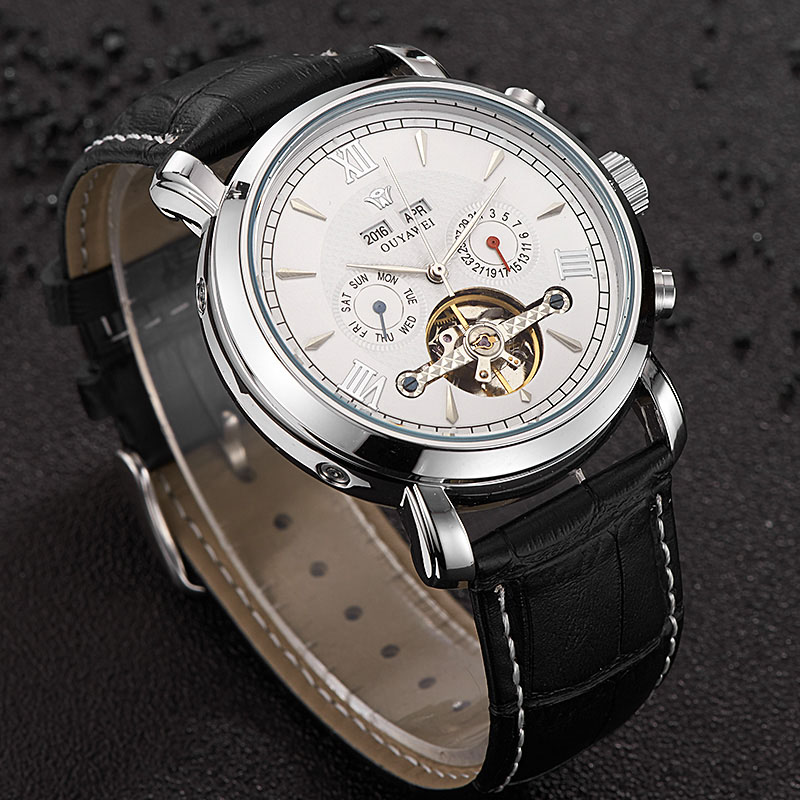 OUYAWEI Men Mechanical Watch Business Skeleton Tourbillon Automatic Male Classic