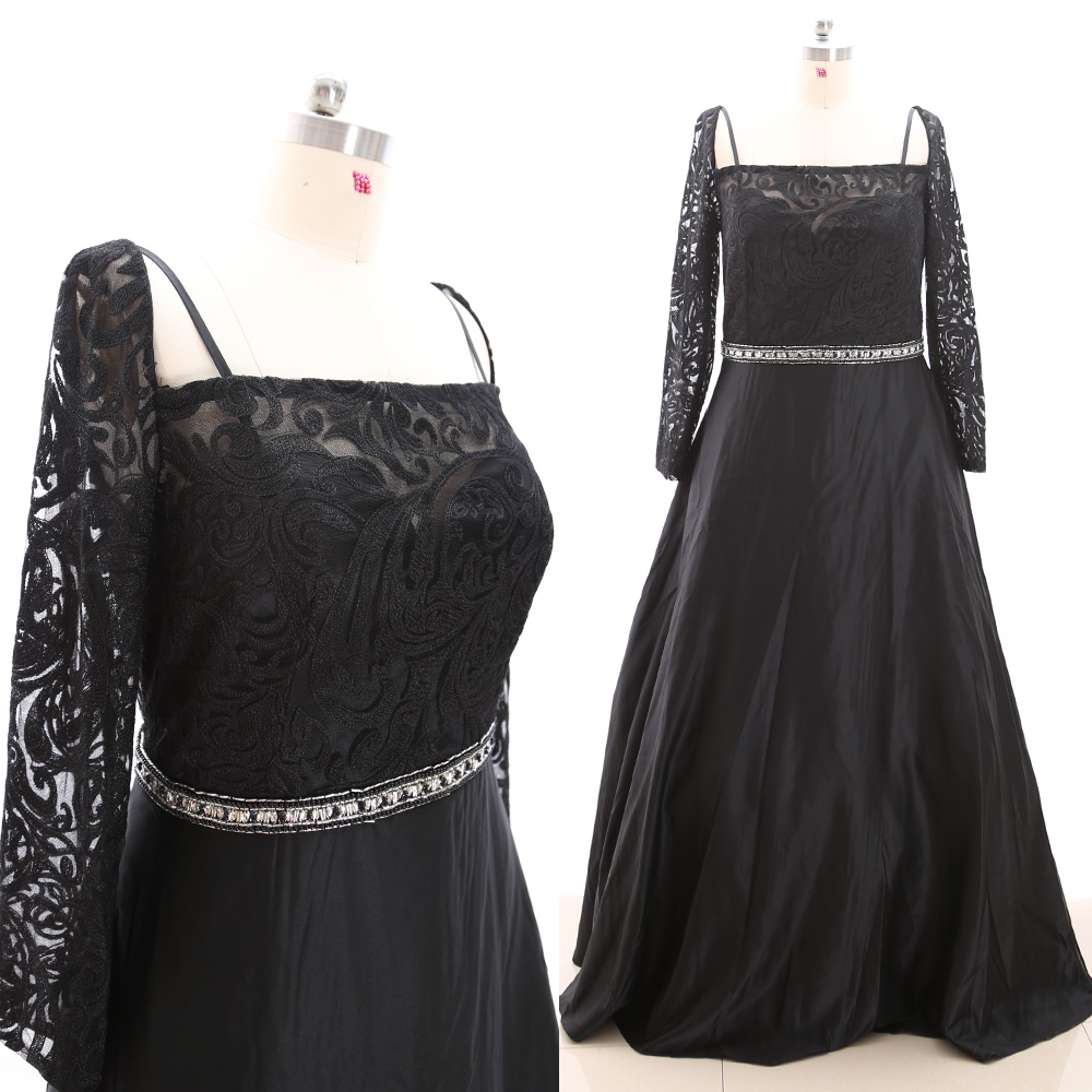 MACloth Black A-Line Square Neck Floor-Length Long Crystal Satin   Prom     Dresses     Dress   5XL 265929 Clearance