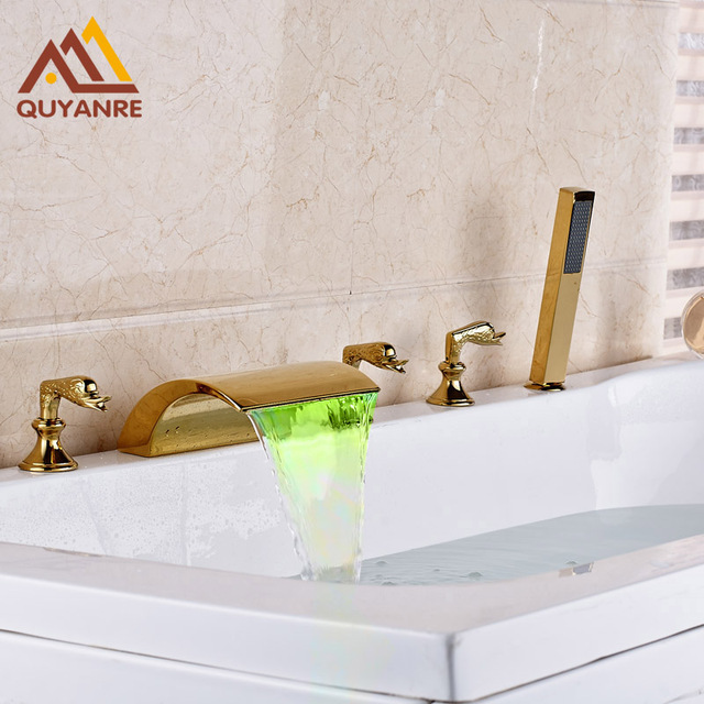 Gold plated Bathtub Faucet Deck Mount Led Light Changing Hot and ...