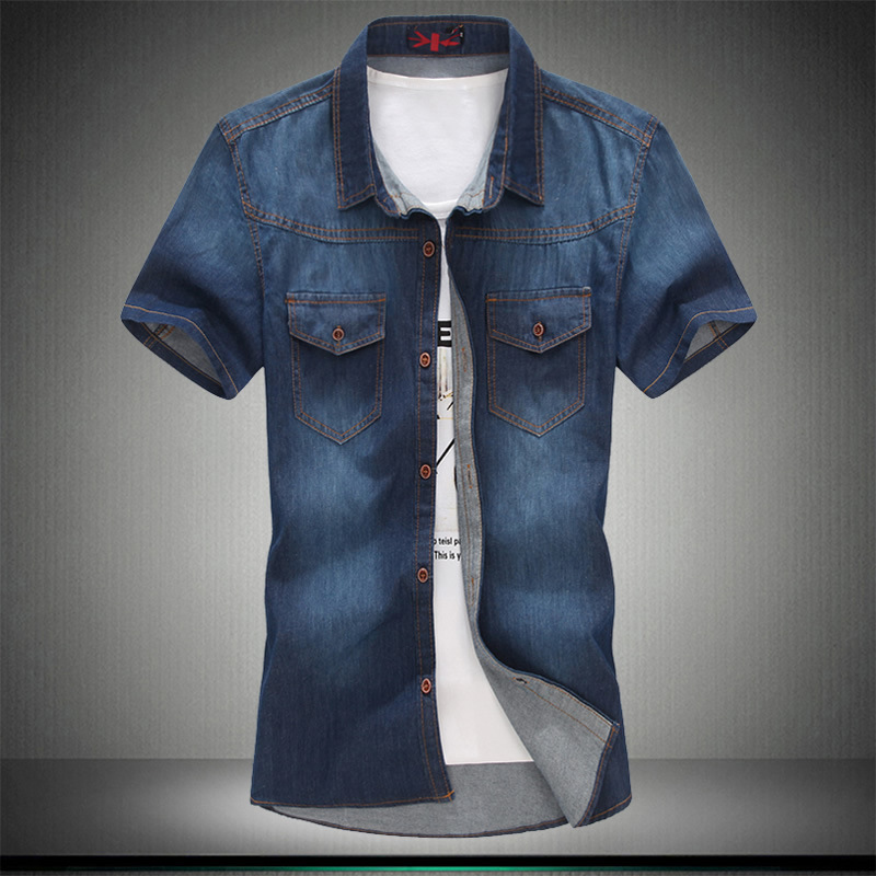 Image 5 - Plus Asian Size L 5XL 6XL 7XL 8XL 100% Denim COTTON Shirt For Men Short Sleeves 2019 Summer Style Fashion Casual Clothing-in Short Sleeve Shirts from Men's Clothing