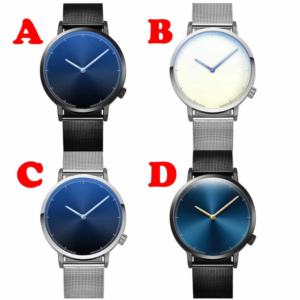 7 MM Ultra-ince erkek Saatler 2018 Hakiki Paslanmaz Çelik Kayış Moda Mavi quartz saat Kadınlar Lüks erkek saati Montre Femme