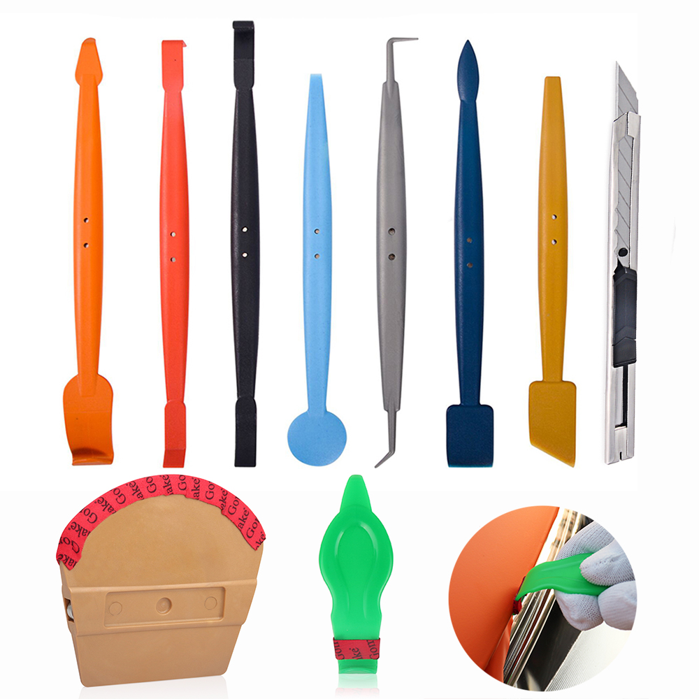 EHDIS 10PCS Vinyl Wrap Car Magnet Squeegee Art Knife Set Car Sticker Application Tool Carbon Fiber Wrapping Stick Magnet Scraper