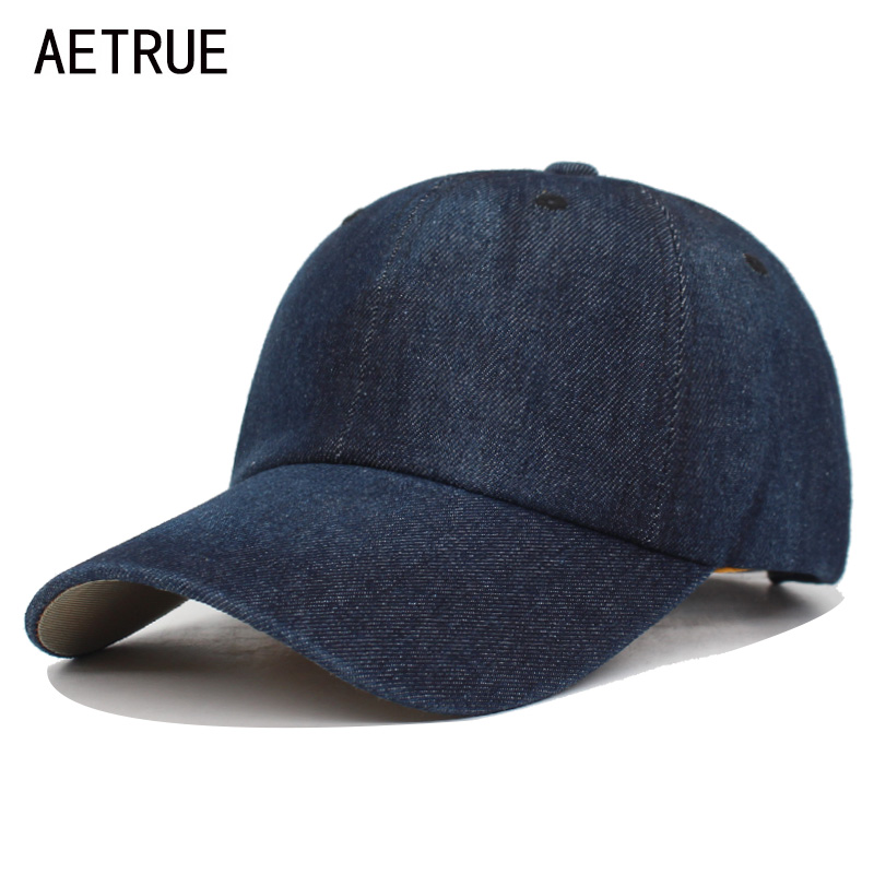 AETRUE Washed Jeans   Baseball     Cap   Men Dad Snapback Hats   Caps   For Women Falt Bone Denim Blank Gorras Casquette Plain Male   Cap   Hat