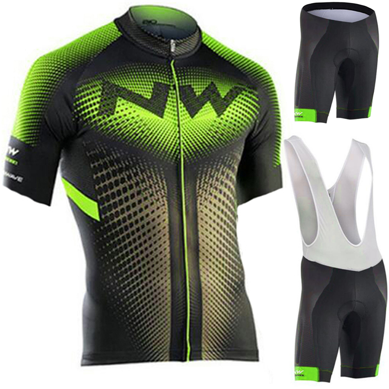 2019 NW Brand Flour Green Cycling Jersey Set Mountian Bicycle Sportswear Cycling Clothing Racing Bike Wear Clothes Cycling Set
